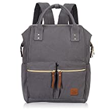 Hynes Eagle Fashion Wide Open Diaper Backpack Baby Bag Travel Carry on Weekend Bag For Men Women 24L (Dual Pockets - Grey)