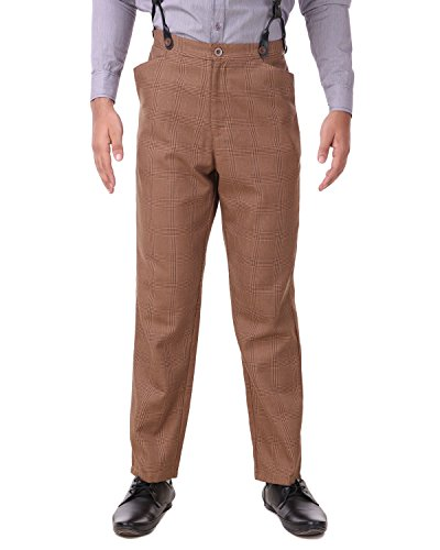 ThePirateDressing Steampunk Cosplay Costume Classic Victorian Men's Pants Trousers C1488-Brown Check (100% Cotton Fabric)-X-Large
