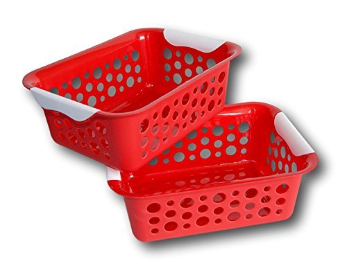 Medium Red Stacking Storage Baskets - 10.75 Inches - Set of 2