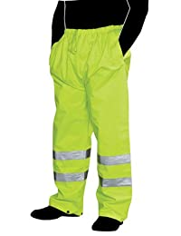 Liberty Glove & Safety HiVizGard Polyester Class E Rain Pant with 2-Inch Wide Silver Reflective Stripes, X-Large, Fluorescent Lime Green