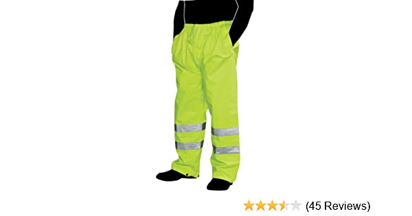 Fluorescent Lime Green X-Large//2X-Large Liberty HiVizGard Polyester Class E Mesh Pant with 2 Wide Silver Reflective Stripes