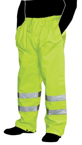 Liberty Glove & Safety HiVizGard Polyester Class E Rain Pant with 2-Inch Wide Silver Reflective Stripes, Large, Fluorescent Lime Green C16920G/L
