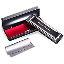 Diatonic Harmonica 10 Hole – Blues Harp with Case, Polishing cloth, Instruction, Key of C