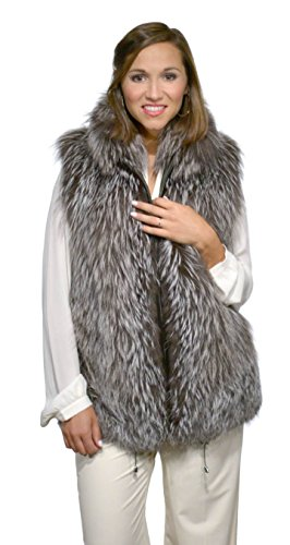 Silver Fox Fur Vest with Zip Front and Drawstring Bottom(Silver Fox Fur,M)