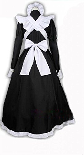 British-Black-White-Dress-Long-Maid-Outfit-Cosplay-Costume-Customization-M