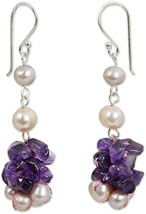NOVICA Amethyst Cultured Freshwater Pearl .925 Sterling Silver Beaded Earrings 'Gracious Lady'