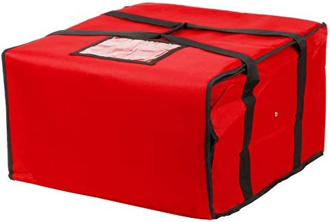 Choice 20 x 20 x 12 Red Nylon Insulated Pizza Delivery Bag – Holds up to 6 16 or 5 18 Pizza Boxes