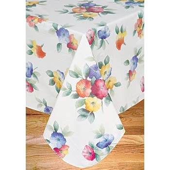 Nice Water Flower Flannel Backed Vinyl Tablecloth, 52X70 Oval