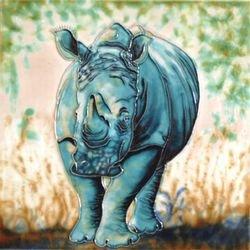 Rhino Decorative Ceramic Wall Art Tile 12x12 CCTC