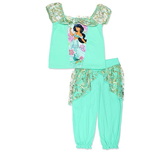 Disney Princess Jasmine Girls Fantasy Pajamas (6, Jasmine Teal)