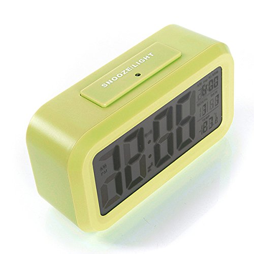 Shop24Hrs LED Digital LCD Alarm Clock Time Calendar Thermometer Snooze Backlight Green Color (Wwe Rush Hour)