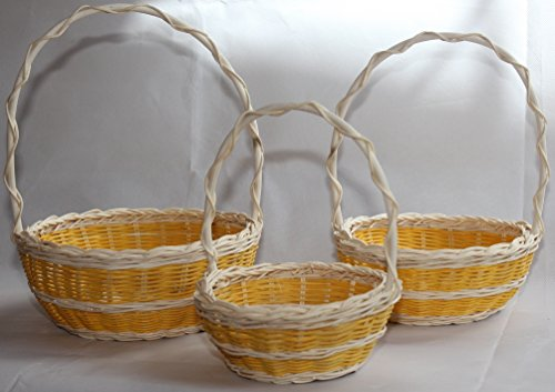 Flowers Easter Basket - ShopOnNet RT410557YL-3: Wicker/Rattan Flower Baskets OR Easter Baskets OR Gift Baskets with Crisscross Handle in Yellow Double Band Design