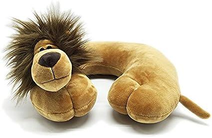 JERN Comfortable U Shape Cartoon Animal Cotton Travel Neck Pillows (Lion)