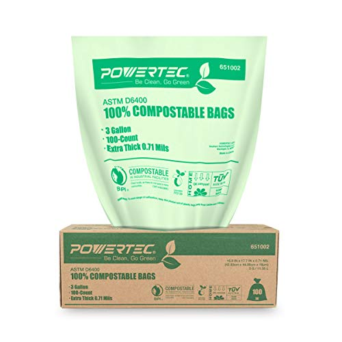 POWERTEC ASTM D6400 Certified-Compostable Bags 3 Gallon | Extra Thick (0.71 Mil) 100% Sustainable Compost Green Bags for Backyard Food Scraps Waste and Composting at Home - 100 Count
