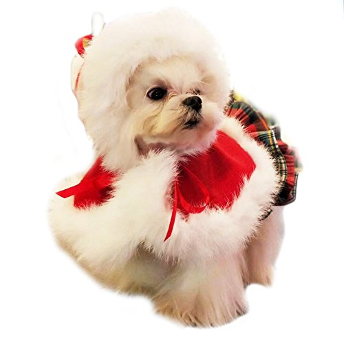 FLAdorepet Rabbit Fur Dog Cloak Cap Luxury Winter Warm Dog Jacket Coat Christmas Dog Costume Outfits Clothes Party Dress (S, Red)