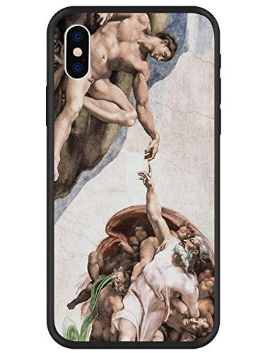 MAYCARI Art Fresco Michelangelo Creation of Adam Phone Case for iPhone X, Hybrid Hard PC + Soft TPU Bumper Frame [Anti-Scratch] [Anti-Finger] Protective ()