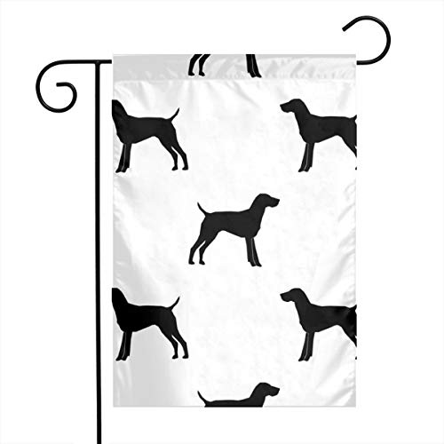 (zhua Welcome Garden Flag 12 X 18 Inch German Shorthair Pointer Dog Silhouette White_2022 Polyester Indoor/Outdoor Double Sided Flag Home Yard Decor)