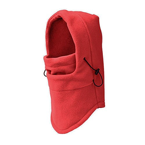 Ezyoutdoor Ezyoutdoor Winter Thermal FLEECE Swat Ski Neck Hoods Full Face Mask Cover Hat Cap for Riding Cycling Hunting Fishing Walking Outdoor Sports (Red)