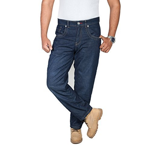 onedaymore Straight Fit Aramid Reinforced Motorcycle Straight Fit Jeans, Blue, Free Protectors, 38W x 32L