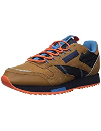 Men's Classic Leather Sneaker, Brown/Navy/Cyan, 6.5 M US