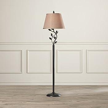 Contemporary Floor Lamp Leaf Design Under Fabric Shade