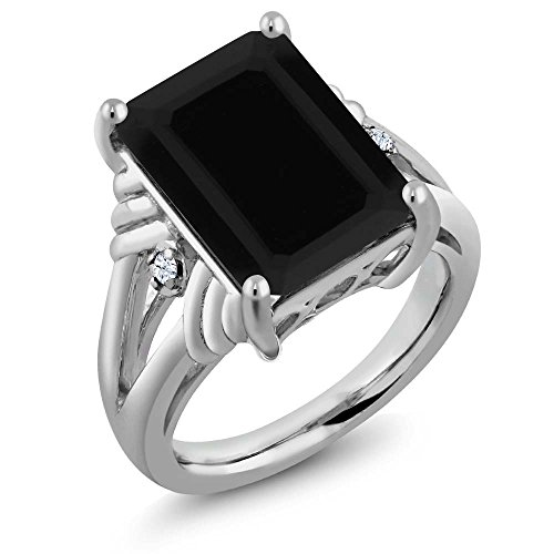 Black Onyx & White Sapphire 925 Sterling Silver Ring 7.38 Cttw 14X10MM Center (Available 5,6,7,8,9)