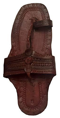 Beadscape ~ A Bit of Deja Vu Hippie Water Buffalo Jesus Sandals 100% Leather (Dark Brown Men's Size 9 / Women's Size 11) ()