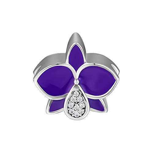 (CKK Flower Charms Fits Pandora Bracelet Authentic Elegant Carter Orchid Beads 925 Sterling Silver Charm for Jewelry Making Purple Enamel Clear Crystal)