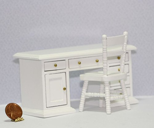 Dollhouse Miniature 1:12 Scale White Painted Wood Desk & Chair Set (White Wood Dollhouse Miniature Painted)