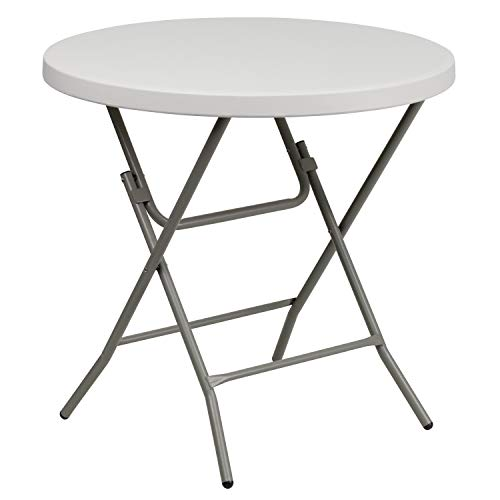 Flash Furniture 32'' Round Granite White Plastic Folding Table ()