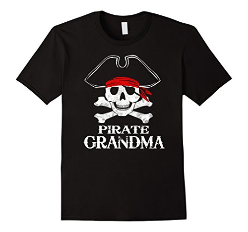 Mens Pirate Grandma Family Halloween Costume Tee Group Costume 3XL Black - Black Sails Costumes