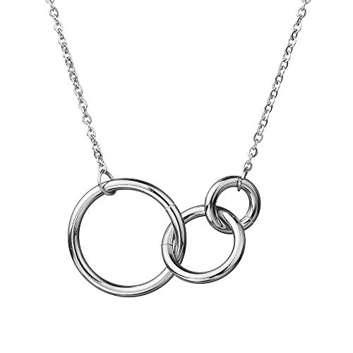 CALIS Best Friends Necklace 3 Interlocking Infinity Circles Friendship Necklace for Kids Teens BFF Gifts ()
