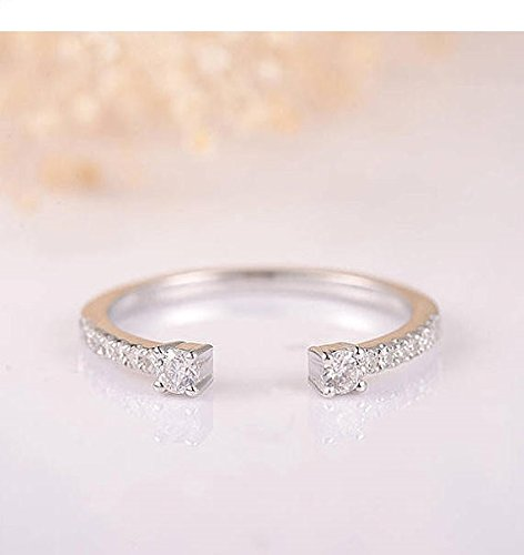 Solid 14k White Gold Natural Conflict Free Diamond Open Eternity Wedding Band Women Anniversary Stacking Matching Promise Art Deco Ring Size 4-9