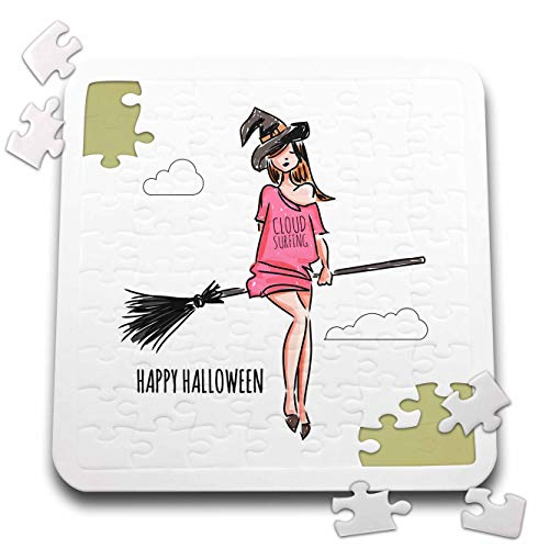 3dRose Alexis Design - Holidays Halloween - Beautiful Witch Flies The Stick. Cloud Surfing. Happy Halloween - 10x10 Inch Puzzle (pzl_299466_2) -