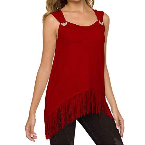 - TUSANG Women Tees O-Neck Solid Sleeveless Tassel Hem Loose Tops Blouse Slim Fit Comfy Tunic(Red,US-6/CN-M)