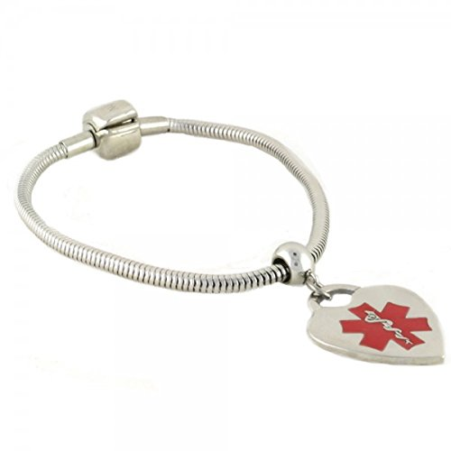 "N Style ID Pan-dorra PRE-ENGRAVED ""ON BLOOD THINNER"" Stylish medical ID bracelet - Heart Red Alert Charm 8.00 by N-Style ID (Image #2)"