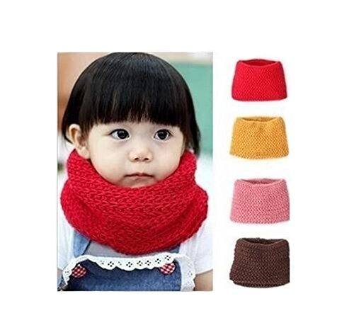 Unisex Baby Kids Toddler Boys Girls Soft Thick Knitted Scarf Warmer Winter Knit Scarf Neck Scarf Wrap Scarves (Pink)