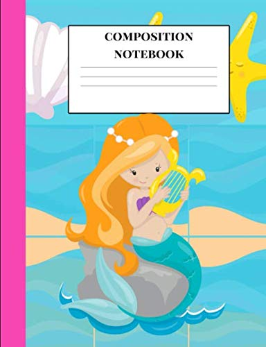 Composition Notebook: A Cute Auburn Mermaid Princess Theme Wide Ruled Composition Book One Subject| 7.44x9.69 Size Blank Lined 110 Pages Paper Writing ... Primary High College School |Kids Teens Girls]()
