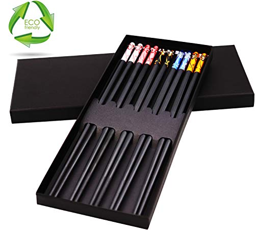 10 Chopsticks Reusable Dishwasher Safe Cooking Chopsticks Fiberglass Colorful with Case Gift