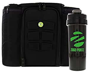 6 Pack Fitness Bag Innovator 500 Black/Neon Green (5 Meal) w/Bonus ZogoSportz Cyclone Shaker