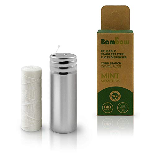 Vegan Dental Floss | refillable Tooth Floss | candelilla Wax | Plastic Free Dental Tape | Zero Waste Floss | Stainless Steel Dispenser | Biodegradable Floss | Mint | 55 Yards | Bambaw