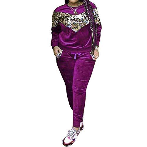 Women's Two Piece Outfits Long Sleeve Sequin Velvet Sweatshirt and Long Pants Tracksuit Sweatsuits Set Purple X-Large ()