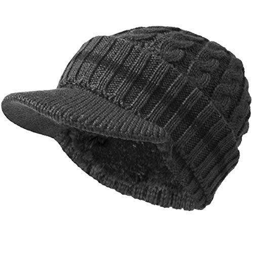 (Men's Knit Beanie Visor Skullcap Cadet Newsboy Cap Ski Winter Hat (Stripe-Grey))