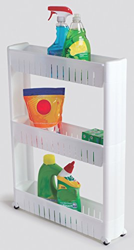 Slim Storage Cabinet Organizer Rolling Pull Out Cart Rack Tower with Wheels - 3 Shelf - Shelving Ideas Solutions