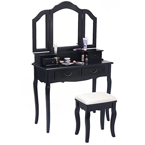 Prosperly prosperly u s product tri folding mirror black for Black makeup table with mirror