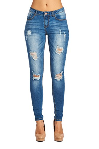 Blue Age Womens Destroyed Stretch Skinny Jean (Super Skinny Rip Jeans)