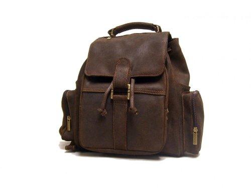 LeDonne Distressed Leather Multi Pocket Back Pack, Choc by LeDonne