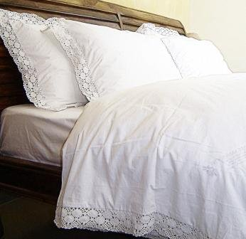 white bed sheets. Love For White Bed Sheet - 200TC Crochet Border- Double/Queen Sheets O