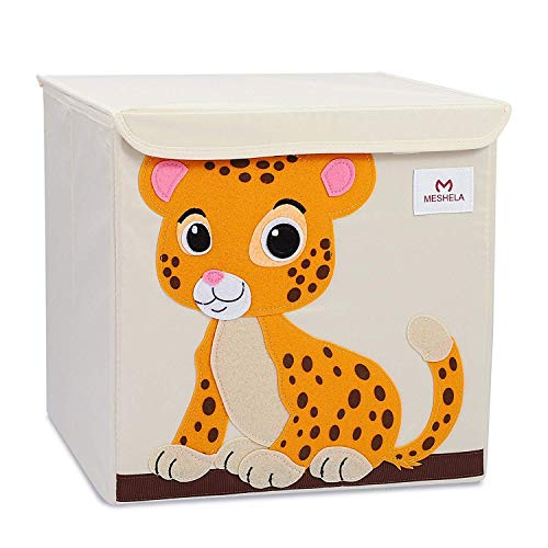 (Pasutewel Kids Storage Box, Large Capacity Foldable Cartoon Canvas Cube Organiser for Clothes, Shoes, Toys (Tiger))