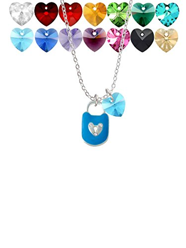 Hot Blue Enamel Lock with Clear Crystals Custom Crystal Heart Sophia Necklace, 18